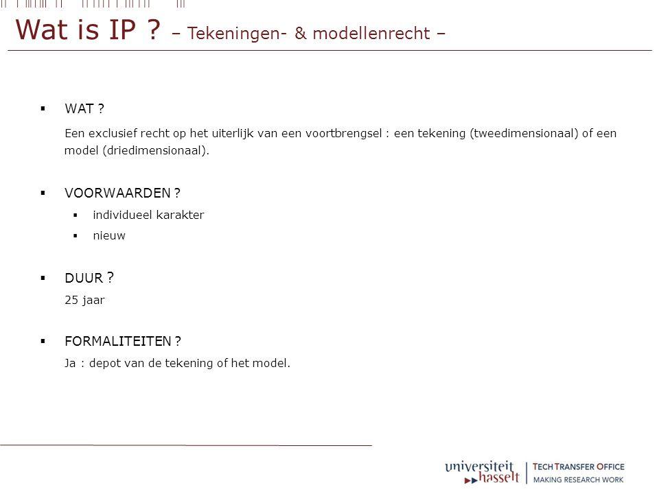 Wat is IP . – Tekeningen- & modellenrecht –  WAT .