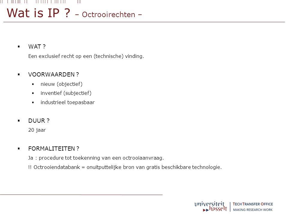 Wat is IP . – Octrooirechten –  WAT . Een exclusief recht op een (technische) vinding.