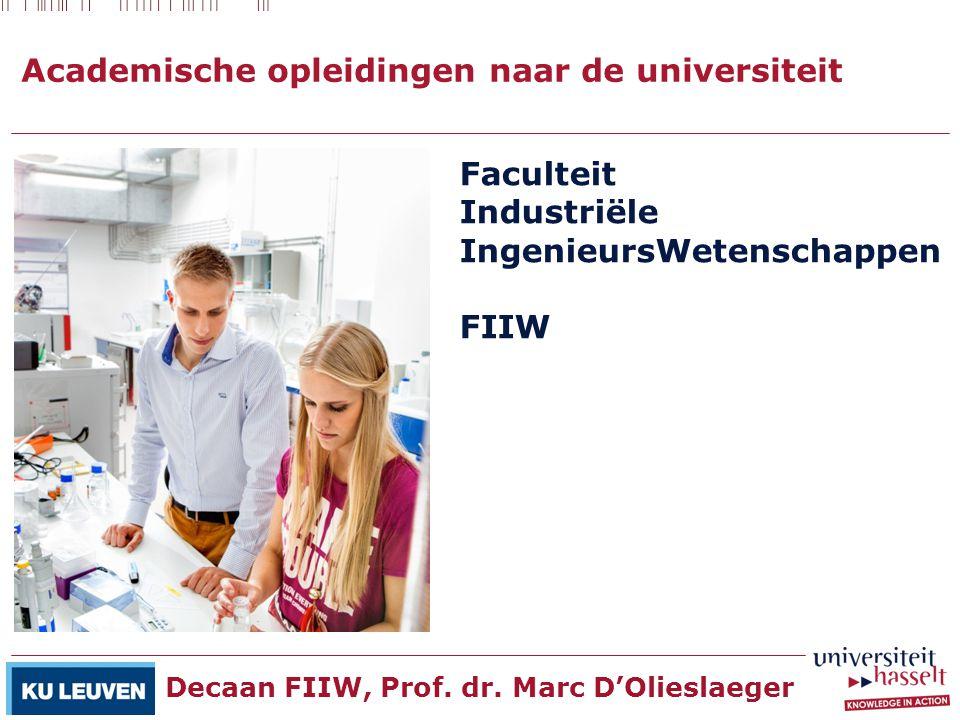 Academische opleidingen naar de universiteit Faculteit Industriële IngenieursWetenschappen FIIW Decaan FIIW, Prof. dr. Marc D'Olieslaeger