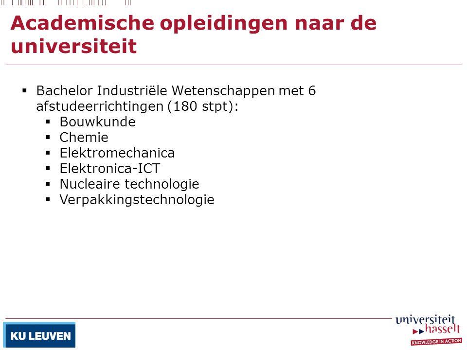 Academische opleidingen naar de universiteit  Bachelor Industriële Wetenschappen met 6 afstudeerrichtingen (180 stpt):  Bouwkunde  Chemie  Elektro