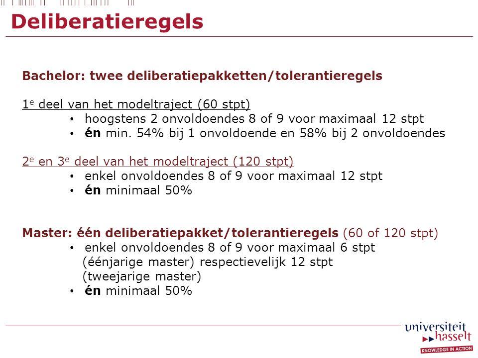 Deliberatieregels Bachelor: twee deliberatiepakketten/tolerantieregels 1 e deel van het modeltraject (60 stpt) hoogstens 2 onvoldoendes 8 of 9 voor ma