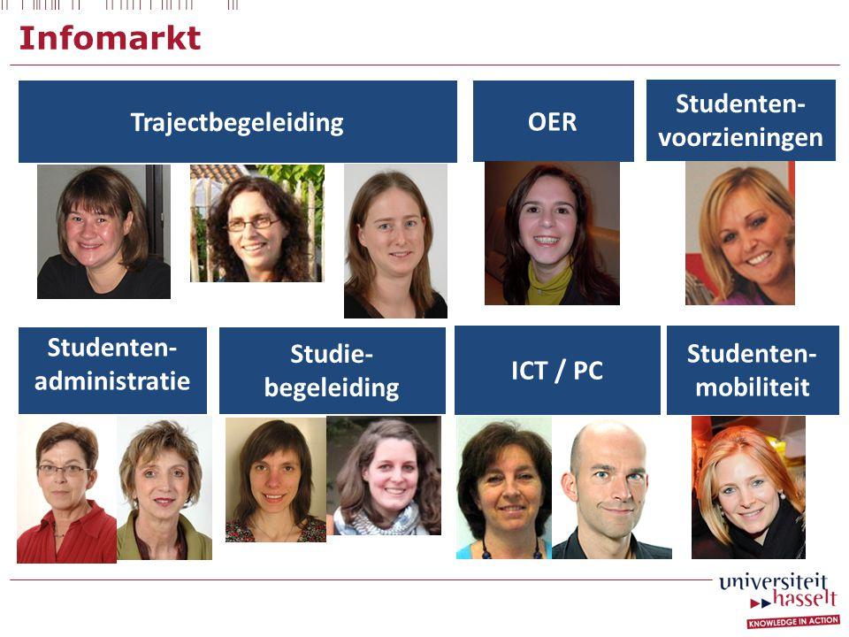 Infomarkt Trajectbegeleiding OER Studenten- administratie Studie- begeleiding Studenten- mobiliteit Studenten- voorzieningen ICT / PC
