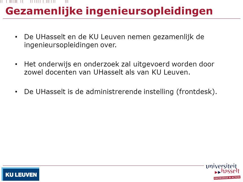Gezamenlijke ingenieursopleidingen De UHasselt en de KU Leuven nemen gezamenlijk de ingenieursopleidingen over. Het onderwijs en onderzoek zal uitgevo