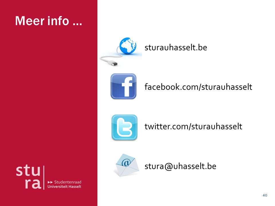 40 Meer info … sturauhasselt.be facebook.com/sturauhasselt twitter.com/sturauhasselt stura@uhasselt.be