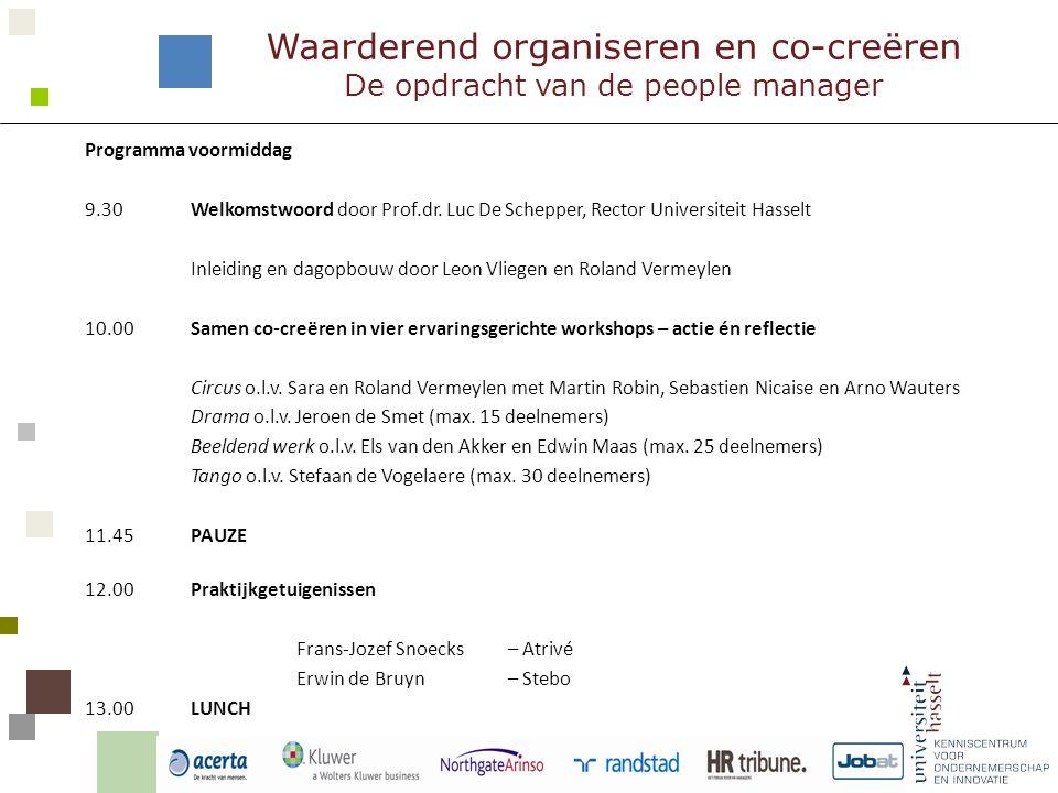 Programma namiddag 14.00Korte reflectie aan de tafels 14.30Praktijkgetuigenissen Luc Steensels – Randstad Joep C.