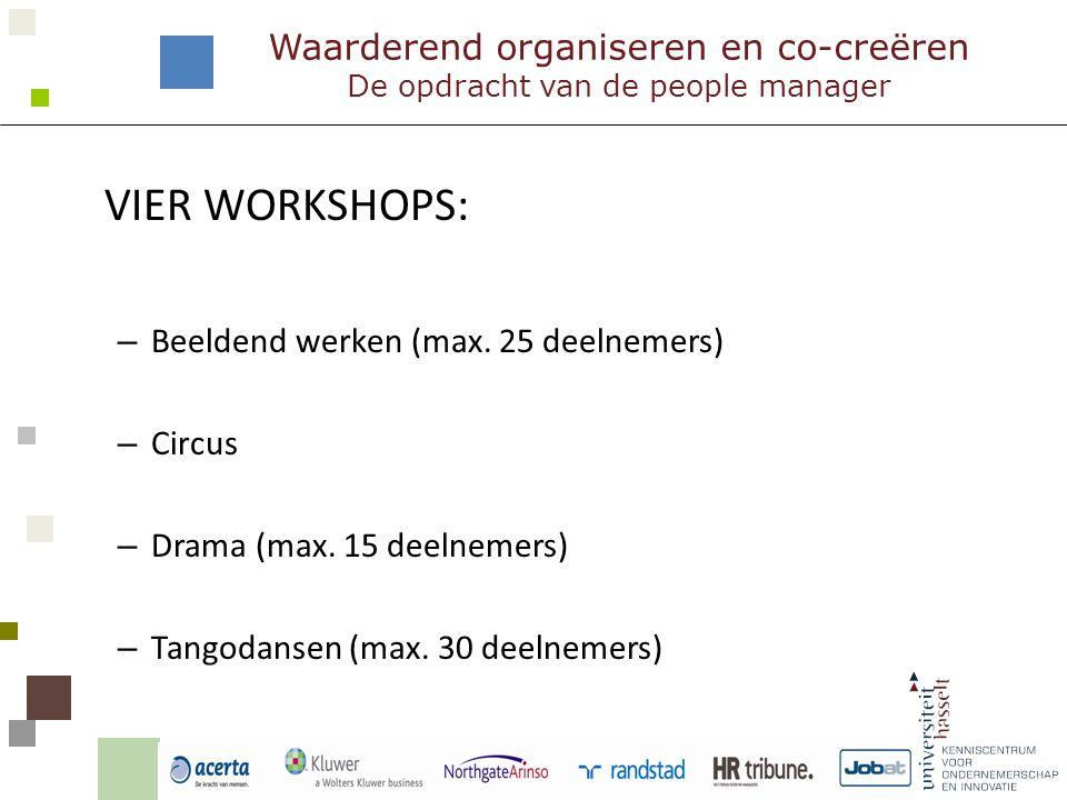 VIER WORKSHOPS: – Beeldend werken (max. 25 deelnemers) – Circus – Drama (max.