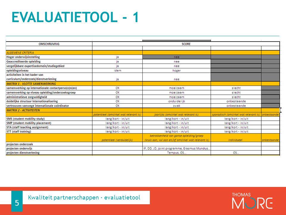 EVALUATIETOOL – 2 6 Kwaliteit partnerschappen - evaluatietool