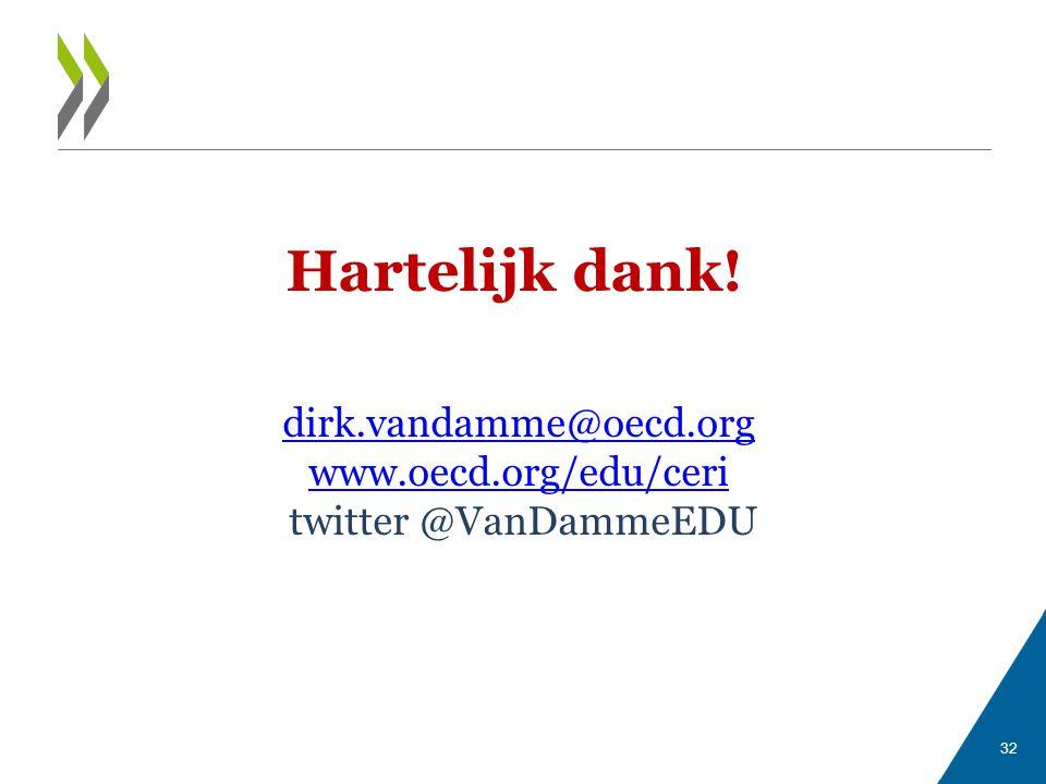 Hartelijk dank! dirk.vandamme@oecd.org www.oecd.org/edu/ceri twitter @VanDammeEDU 32