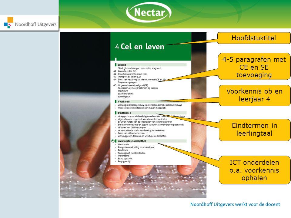 Hoofdstuktitel Voorkennis ob en leerjaar 4 ICT onderdelen o.a. voorkennis ophalen 4-5 paragrafen met CE en SE toevoeging Eindtermen in leerlingtaal