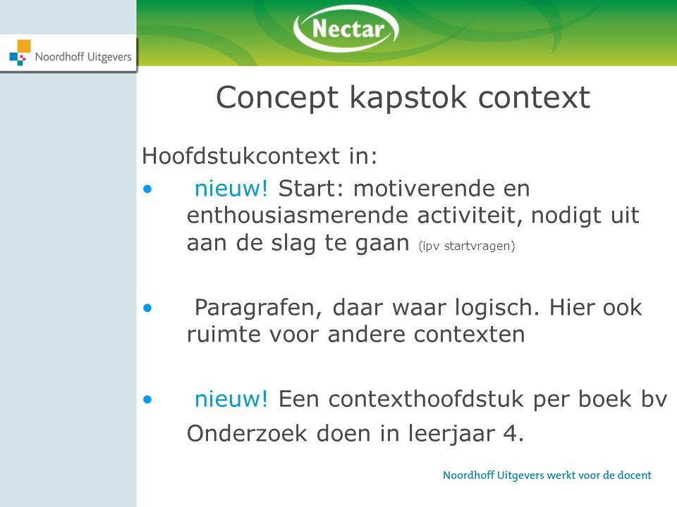 Concept kapstok context Hoofdstukcontext in: nieuw! Start: motiverende en enthousiasmerende activiteit, nodigt uit aan de slag te gaan (ipv startvrage