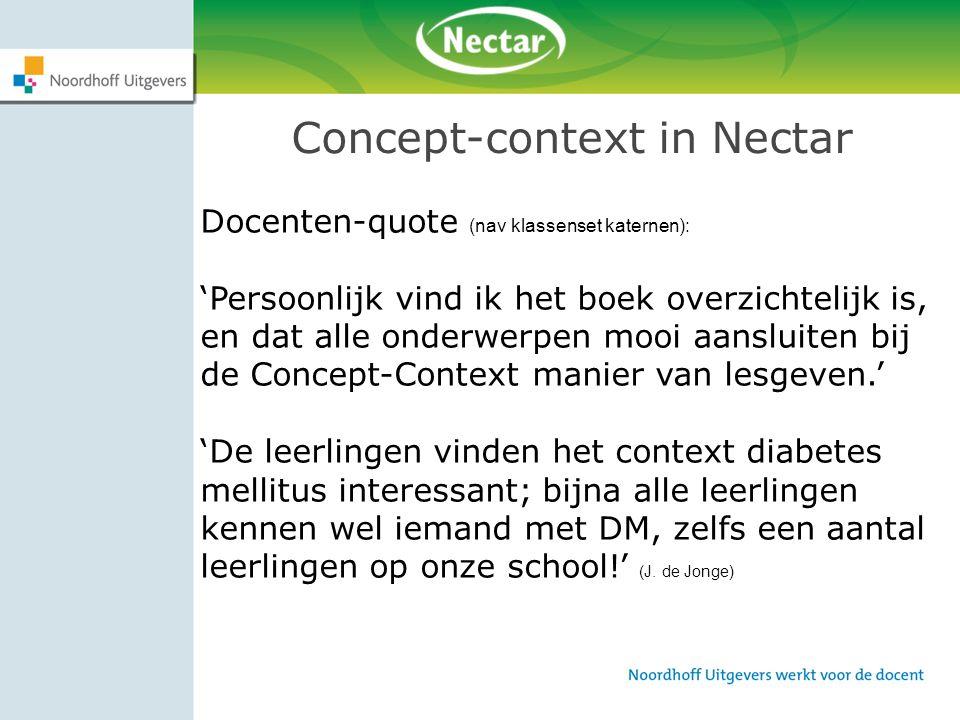 Concept-context in Nectar Docenten-quote (nav klassenset katernen): 'Persoonlijk vind ik het boek overzichtelijk is, en dat alle onderwerpen mooi aans