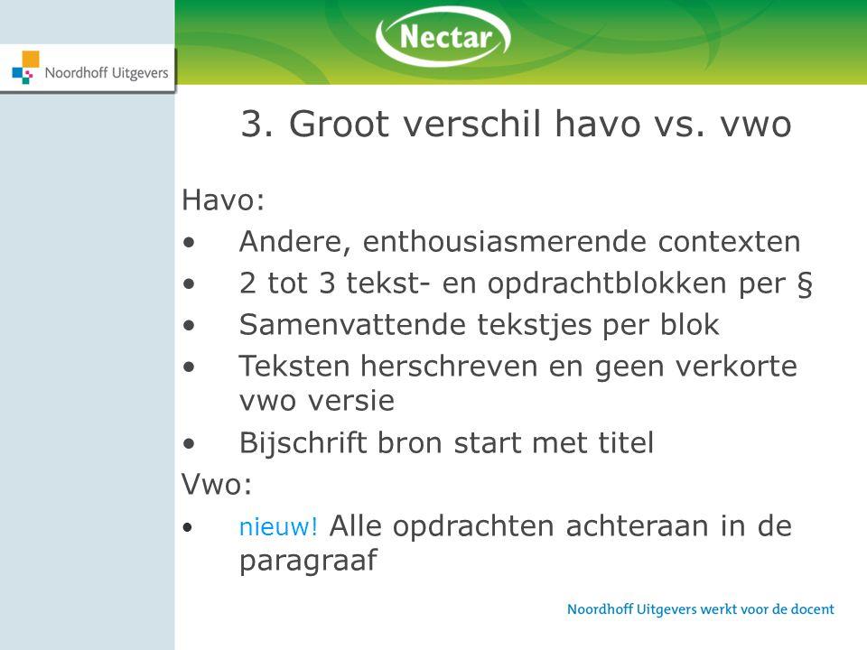 3. Groot verschil havo vs. vwo Havo: Andere, enthousiasmerende contexten 2 tot 3 tekst- en opdrachtblokken per § Samenvattende tekstjes per blok Tekst