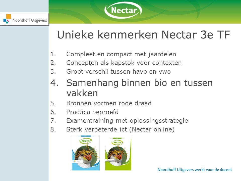 Unieke kenmerken Nectar 3e TF 1.Compleet en compact met jaardelen 2.Concepten als kapstok voor contexten 3.Groot verschil tussen havo en vwo 4.Samenha