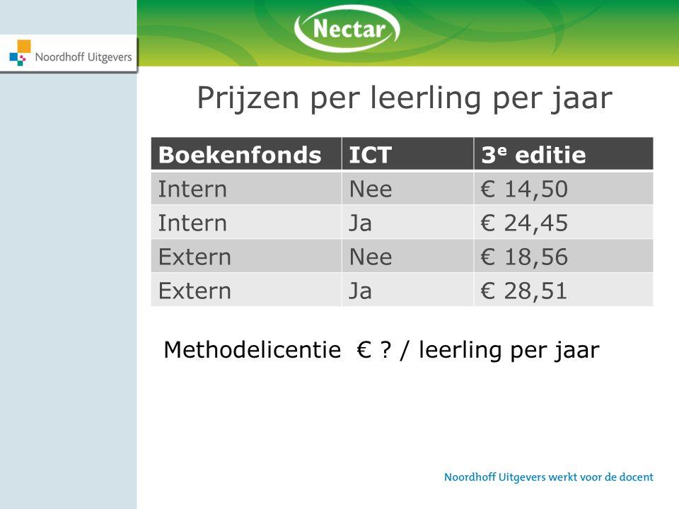 Prijzen per leerling per jaar BoekenfondsICT3 e editie InternNee€ 14,50 InternJa€ 24,45 ExternNee€ 18,56 ExternJa€ 28,51 Methodelicentie € ? / leerlin