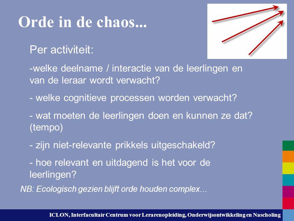 ICLON, Interfacultair Centrum voor Lerarenopleiding, Onderwijsontwikkeling en Nascholing Orde in de chaos... Per activiteit: -welke deelname / interac