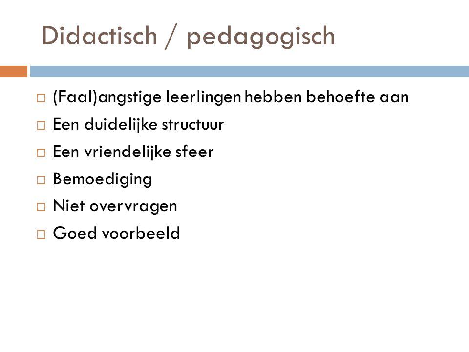 Didactisch / pedagogisch  (Faal)angstige leerlingen hebben behoefte aan  Een duidelijke structuur  Een vriendelijke sfeer  Bemoediging  Niet over