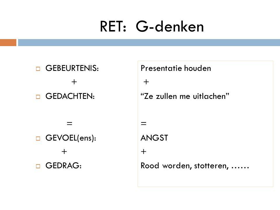 """RET: G-denken  GEBEURTENIS: +  GEDACHTEN: =  GEVOEL(ens): +  GEDRAG: Presentatie houden + """"Ze zullen me uitlachen"""" = ANGST + Rood worden, stottere"""