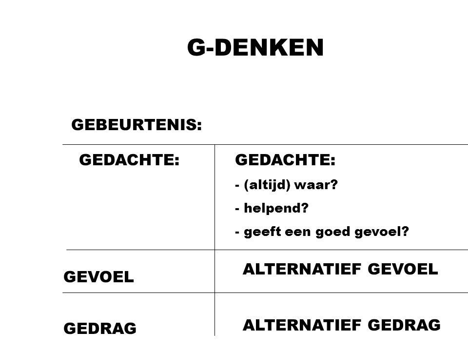 G-DENKEN GEBEURTENIS: GEDACHTE: GEVOEL GEDRAG GEDACHTE: - (altijd) waar? - helpend? - geeft een goed gevoel? ALTERNATIEF GEVOEL ALTERNATIEF GEDRAG
