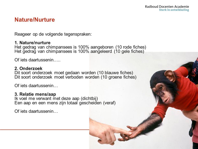 Nature/Nurture Reageer op de volgende tegenspraken: 1. Nature/nurture Het gedrag van chimpansees is 100% aangeboren (10 rode fiches) Het gedrag van ch