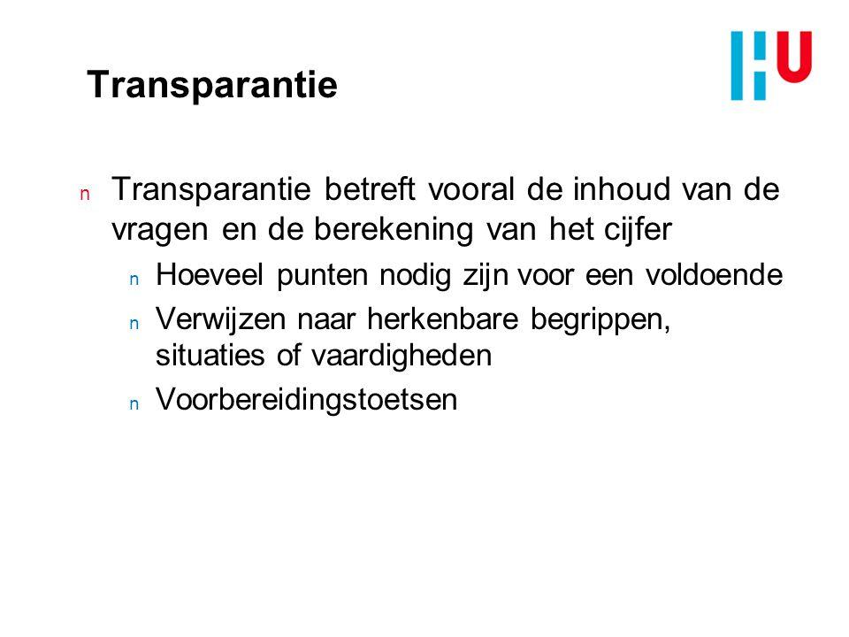 Transparantie n Transparantie betreft vooral de inhoud van de vragen en de berekening van het cijfer n Hoeveel punten nodig zijn voor een voldoende n