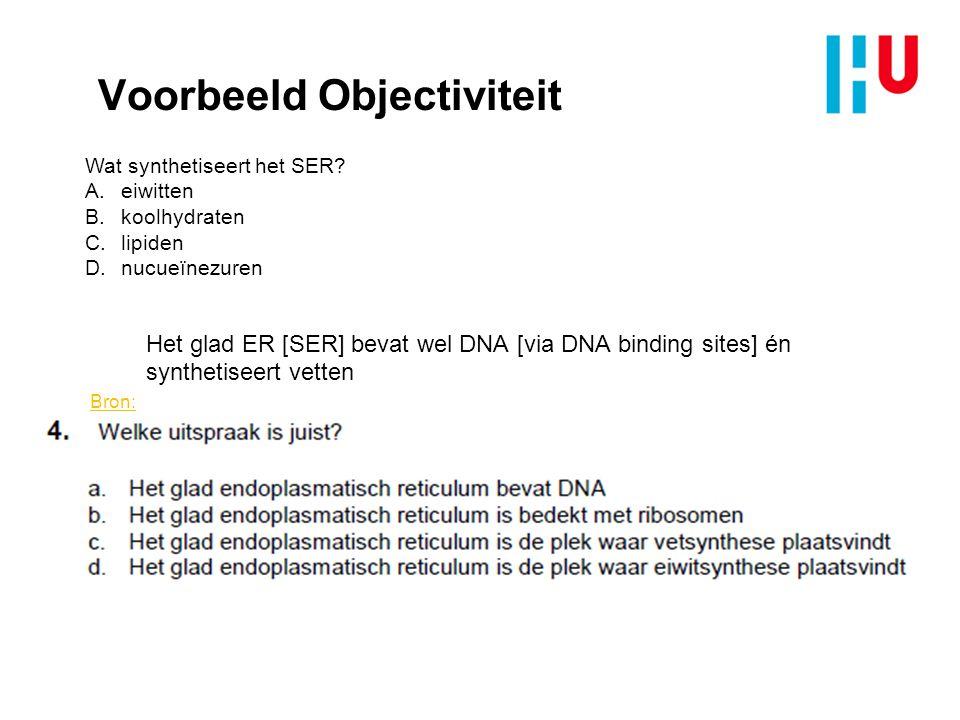 Voorbeeld Objectiviteit Het glad ER [SER] bevat wel DNA [via DNA binding sites] én synthetiseert vetten Bron: 2000 JBC Wang and Shen.pdf Wat synthetis