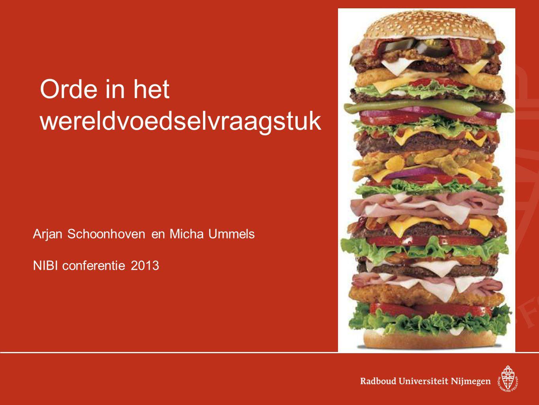 Orde in het wereldvoedselvraagstuk Arjan Schoonhoven en Micha Ummels NIBI conferentie 2013
