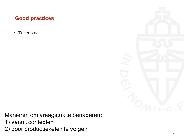 Good practices Manieren om vraagstuk te benaderen: 1) vanuit contexten 2) door productieketen te volgen Tekenplaat