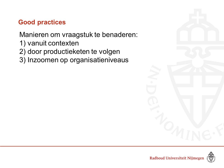 Good practices Manieren om vraagstuk te benaderen: 1) vanuit contexten 2) door productieketen te volgen 3) Inzoomen op organisatieniveaus