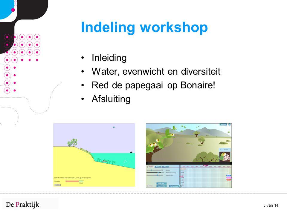 3 van 14 Indeling workshop Inleiding Water, evenwicht en diversiteit Red de papegaai op Bonaire! Afsluiting