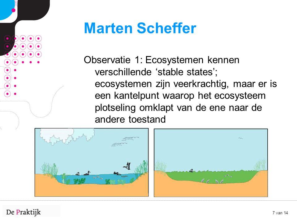 7 van 14 Marten Scheffer Observatie 1: Ecosystemen kennen verschillende 'stable states'; ecosystemen zijn veerkrachtig, maar er is een kantelpunt waar