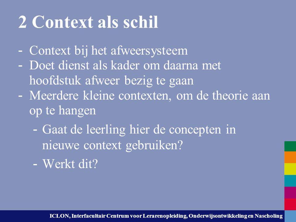 ICLON, Interfacultair Centrum voor Lerarenopleiding, Onderwijsontwikkeling en Nascholing 2 Context als schil - Context bij het afweersysteem - Doet di