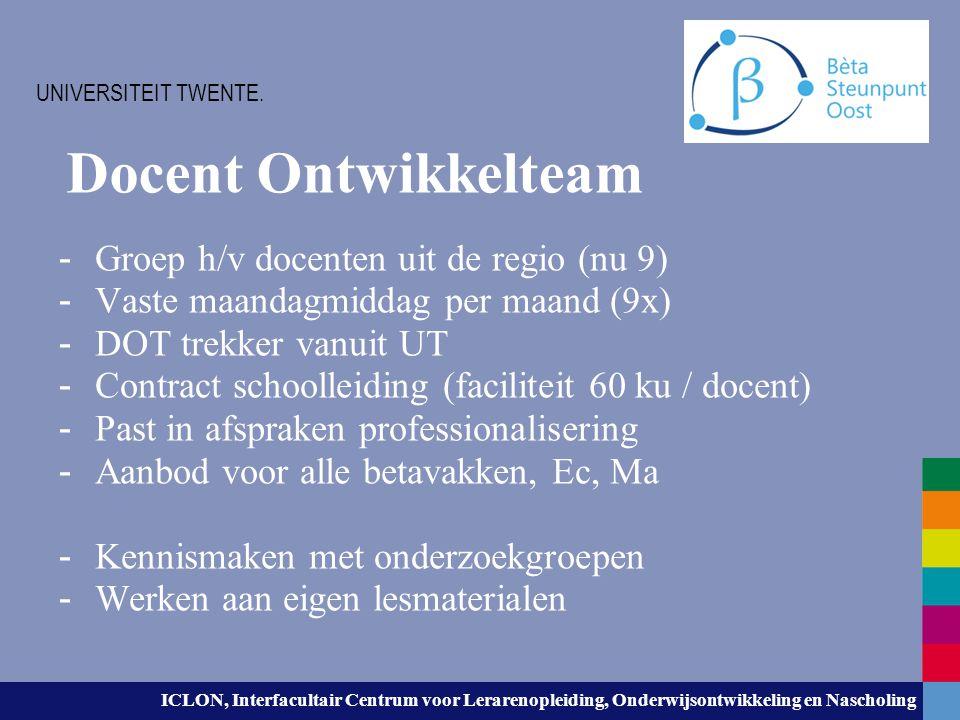 ICLON, Interfacultair Centrum voor Lerarenopleiding, Onderwijsontwikkeling en Nascholing Docent Ontwikkelteam - Groep h/v docenten uit de regio (nu 9)