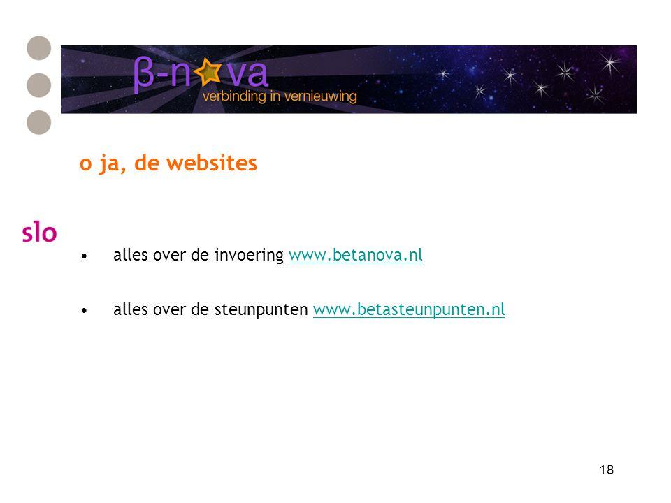 18 o ja, de websites alles over de invoering www.betanova.nlwww.betanova.nl alles over de steunpunten www.betasteunpunten.nlwww.betasteunpunten.nl