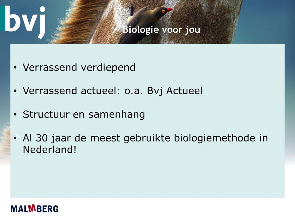 Biologie voor jou Verrassend verdiepend Verrassend actueel: o.a. Bvj Actueel Structuur en samenhang Al 30 jaar de meest gebruikte biologiemethode in N