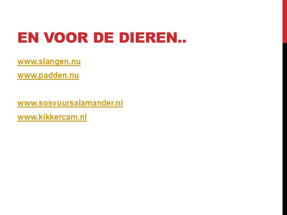 EN VOOR DE DIEREN.. www.slangen.nu www.padden.nu www.sosvuursalamander.nl www.kikkercam.nl