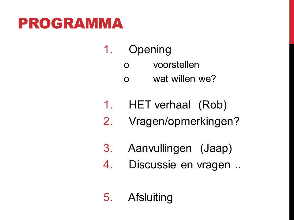 PROGRAMMA 1. Opening ovoorstellen owat willen we? 1. HET verhaal (Rob) 2. Vragen/opmerkingen? 3. Aanvullingen (Jaap) 4. Discussie en vragen.. 5. Afslu