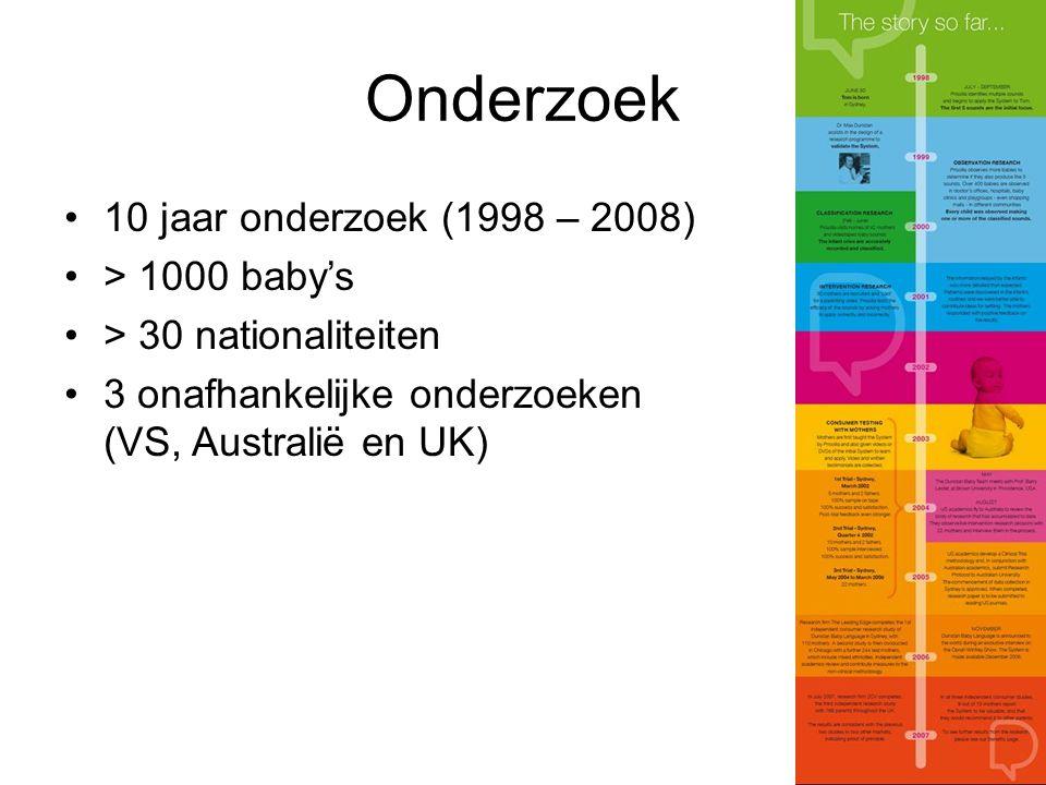 Onderzoek 10 jaar onderzoek (1998 – 2008) > 1000 baby's > 30 nationaliteiten 3 onafhankelijke onderzoeken (VS, Australië en UK)