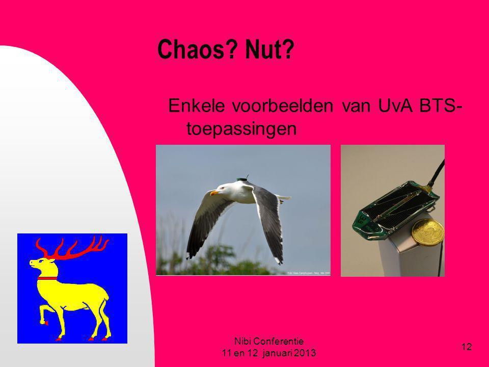Chaos? Nut? Enkele voorbeelden van UvA BTS- toepassingen Nibi Conferentie 11 en 12 januari 2013 12
