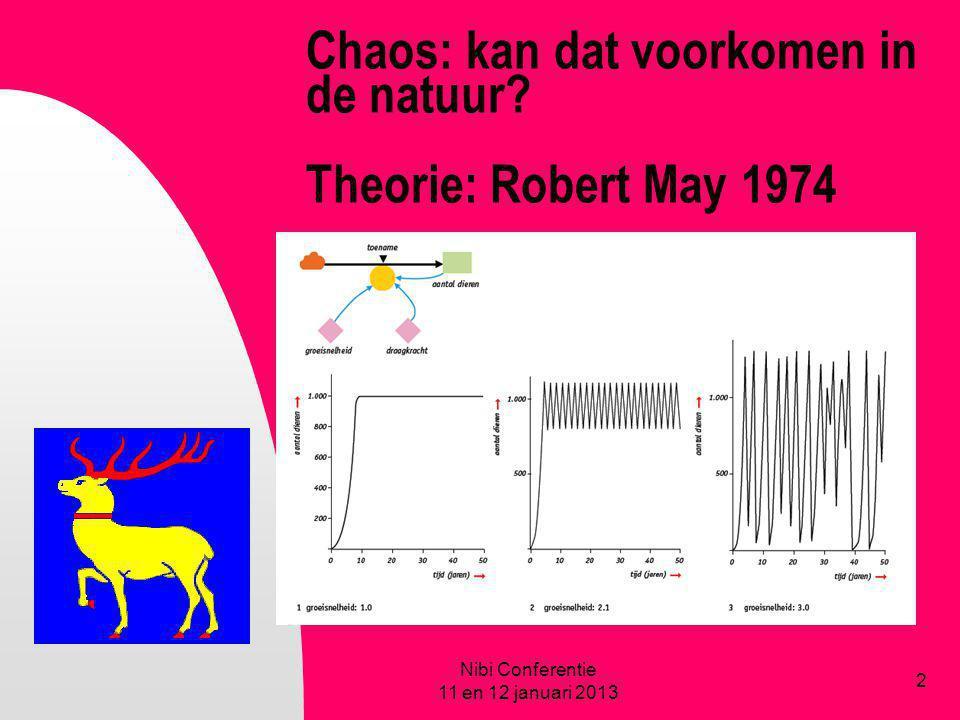 Chaos: kan dat voorkomen in de natuur? Theorie: Robert May 1974 Nibi Conferentie 11 en 12 januari 2013 2