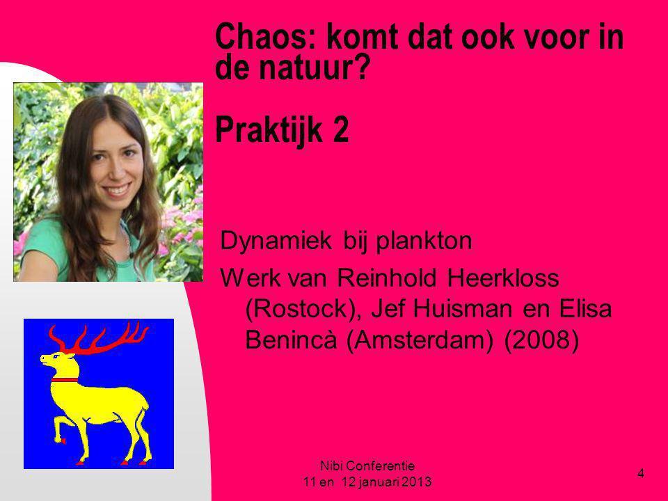 Chaos: komt dat ook voor in de natuur? Praktijk 2 Dynamiek bij plankton Werk van Reinhold Heerkloss (Rostock), Jef Huisman en Elisa Benincà (Amsterdam