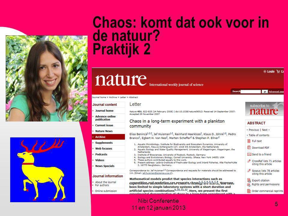 Chaos: komt dat ook voor in de natuur? Praktijk 2 Nibi Conferentie 11 en 12 januari 2013 5