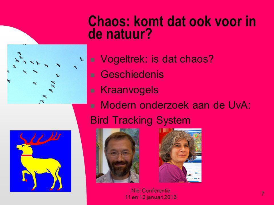Chaos: komt dat ook voor in de natuur? Vogeltrek: is dat chaos? Geschiedenis Kraanvogels Modern onderzoek aan de UvA: Bird Tracking System Nibi Confer
