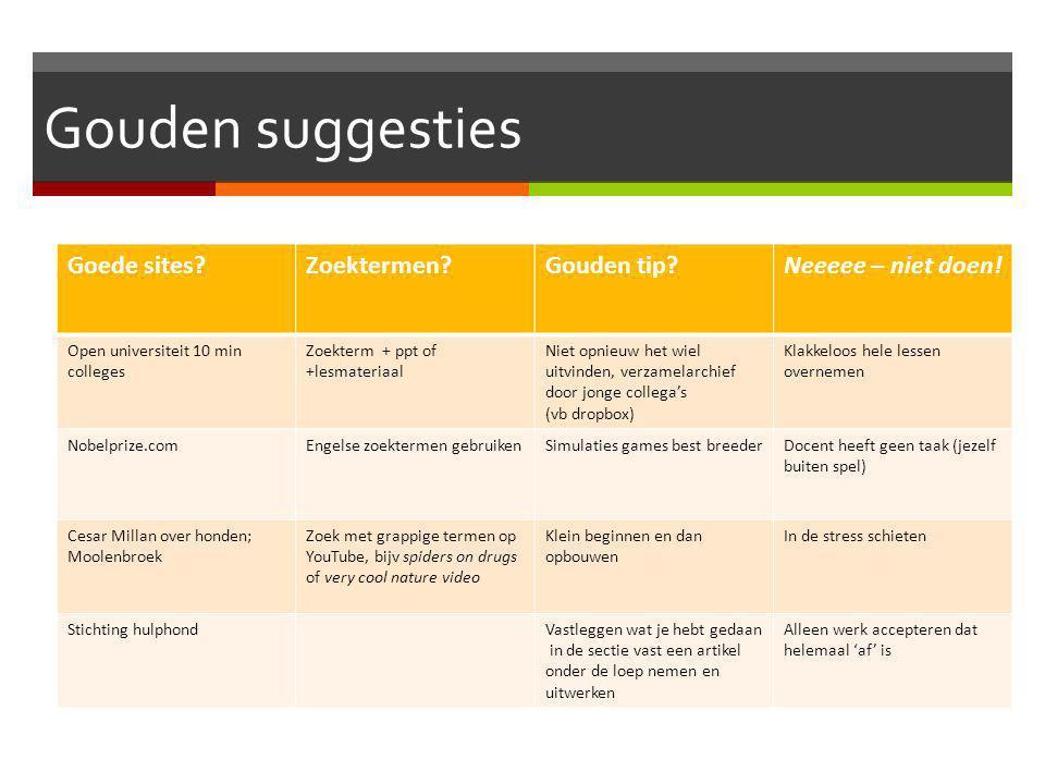 Gouden suggesties Goede sites Zoektermen Gouden tip Neeeee – niet doen.