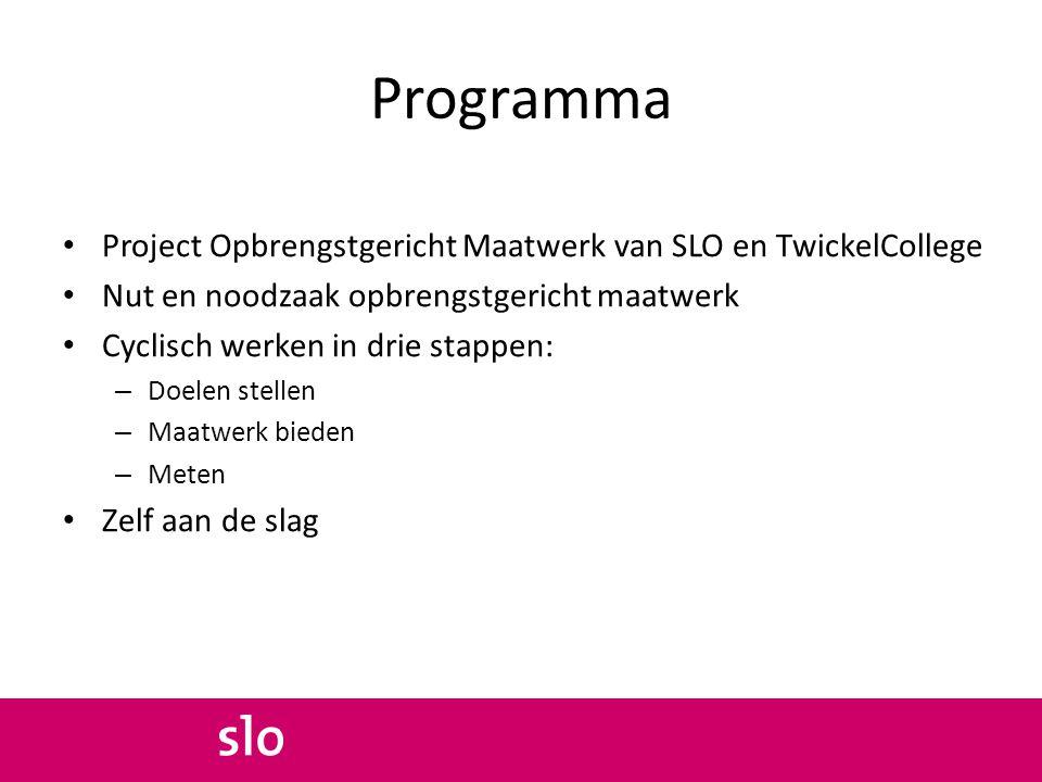 Programma Project Opbrengstgericht Maatwerk van SLO en TwickelCollege Nut en noodzaak opbrengstgericht maatwerk Cyclisch werken in drie stappen: – Doe