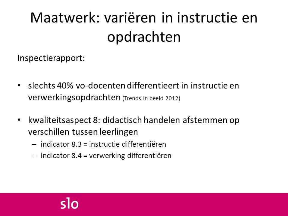 Maatwerk: variëren in instructie en opdrachten Inspectierapport: slechts 40% vo-docenten differentieert in instructie en verwerkingsopdrachten (Trends
