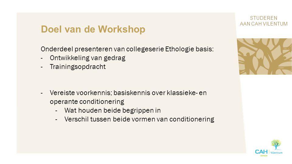 STUDEREN AAN CAH VILENTUM Doel van de Workshop Onderdeel presenteren van collegeserie Ethologie basis: -Ontwikkeling van gedrag -Trainingsopdracht -Ve