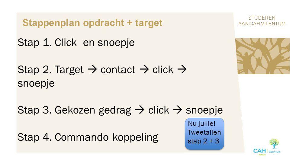 STUDEREN AAN CAH VILENTUM Stappenplan opdracht + target Stap 1. Click en snoepje Stap 2. Target  contact  click  snoepje Stap 3. Gekozen gedrag  c