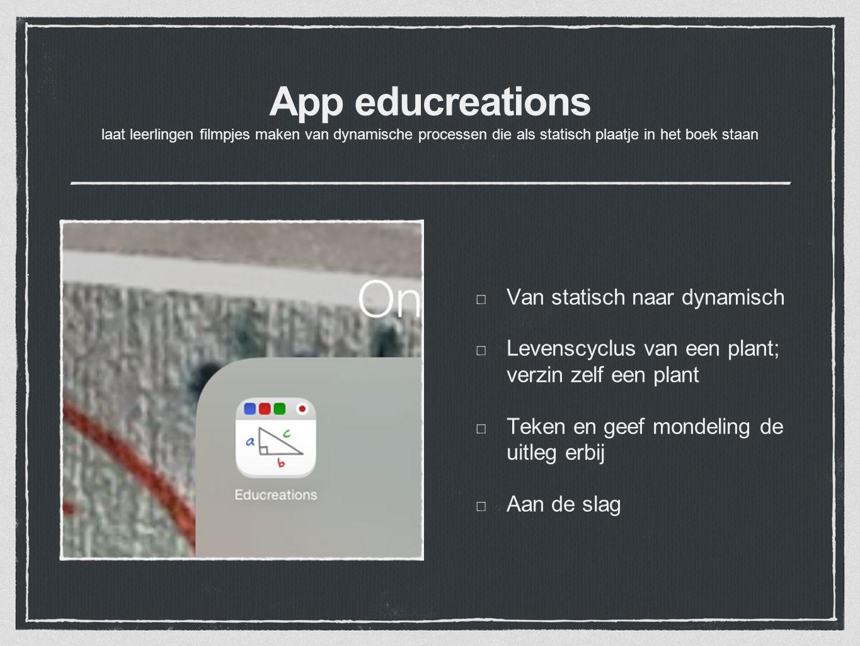 App educreations laat leerlingen filmpjes maken van dynamische processen die als statisch plaatje in het boek staan Van statisch naar dynamisch Levens