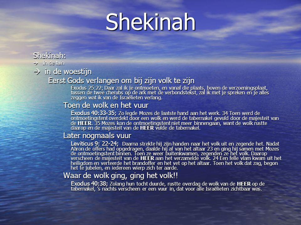 ShekinahShekinah:  in de woestijn Eerst Gods verlangen om bij zijn volk te zijn Exodus 25:22; Daar zal ik je ontmoeten, en vanaf die plaats, boven de verzoeningsplaat, tussen de twee cherubs op de ark met de verbondstekst, zal ik met je spreken en je alles zeggen wat ik van de Israëlieten verlang.