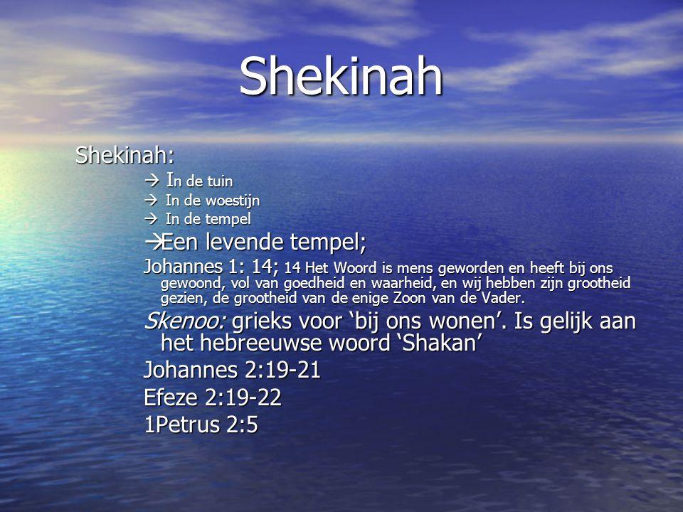Shekinah Shekinah:  I n de tuin  In de woestijn  In de tempel  Een levende tempel; Johannes 1: 14; 14 Het Woord is mens geworden en heeft bij ons gewoond, vol van goedheid en waarheid, en wij hebben zijn grootheid gezien, de grootheid van de enige Zoon van de Vader.